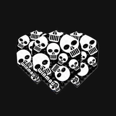 Embossed Standard Black & White Skulls